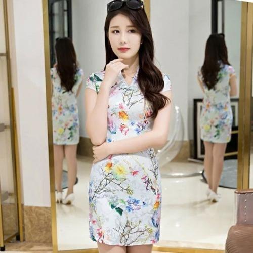 Tokio Vestido Flor Japon Chino Oriental Cheongsam Qipao Fq4
