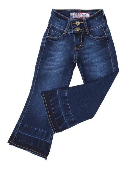 Calça Flare Infantil Feminina Rodeo Western Azul Escuro 2334