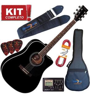 Kit Violão Elétrico Folk Hofma Ye220 Bk Preto Aço C Afinador