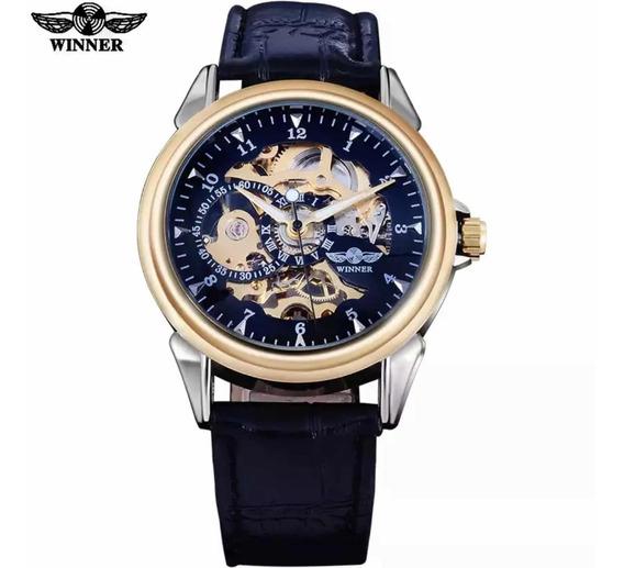Relógio Automático Masculino Pulseira De Couro Mecanico 830