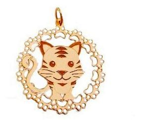 Colar Mandala I Love My Cat Gatinha Banhado A Ouro 18k