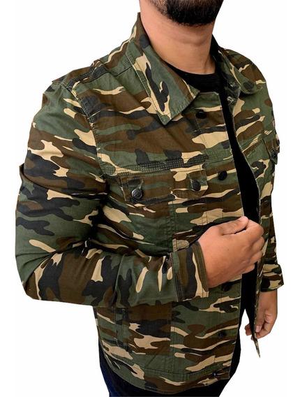 Jaqueta Casaco Blusa Camuflada Militar Slim Fit Com Bolso