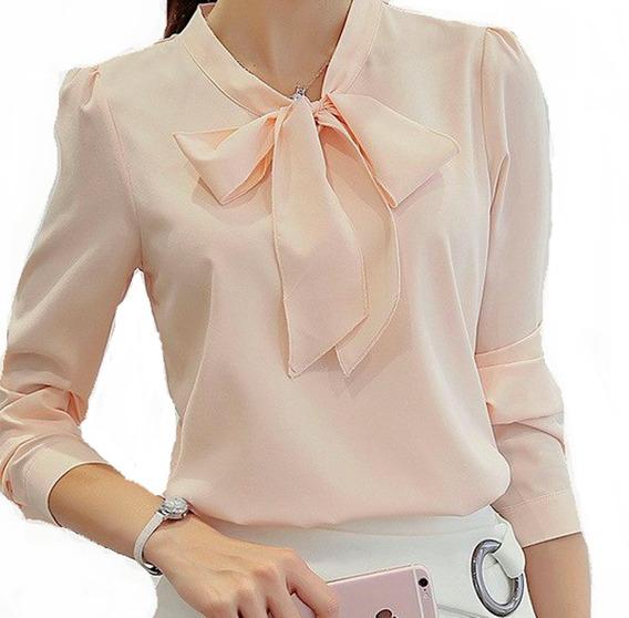 Camisa Feminina Chiffon Moda Importada Luxo Foto Real