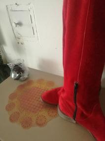 Botas Caña Alta Color Roja Con Flecos