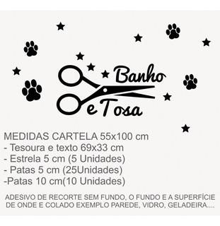 Adesivo Tesoura Pet Shop Cachorro Banho E Tosa Patinhas 1144