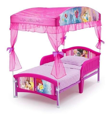 Cama Con Dosel Para Niñas Disney Princesas Rosa