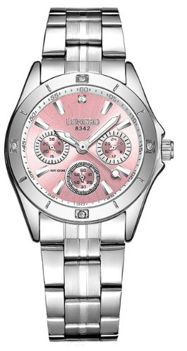 Relógio Feminino Longbo Importado Rosa, Prata Aço Inoxidável