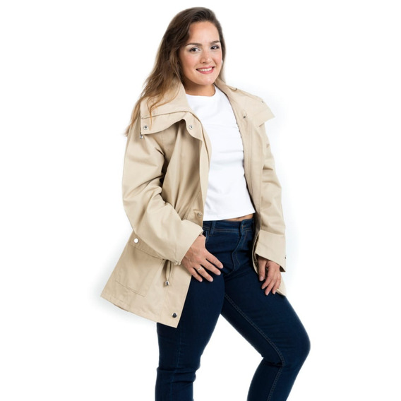 Campera Piloto Impermeable Mujer Capucha Desmontable