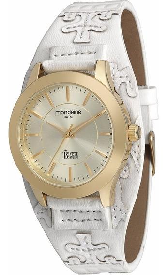 Relógio Feminino Couro Branco Mondaine Fashion 94662lpmvdh1