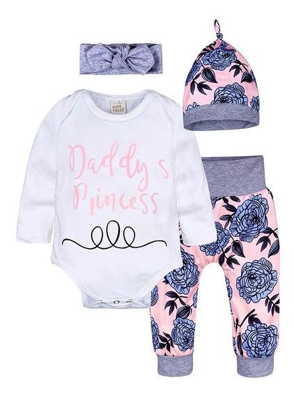 Conjunto 4 Piezas Para Bebe Florado De Moda Para Niña