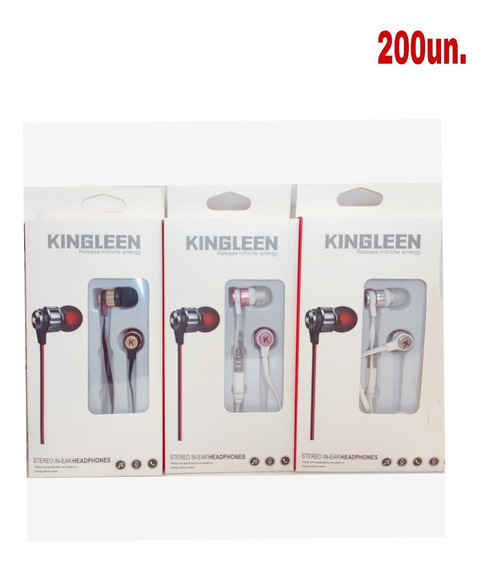 Kit 200 Fone De Ouvido Com Microfone Stereo Atacado Kingleen