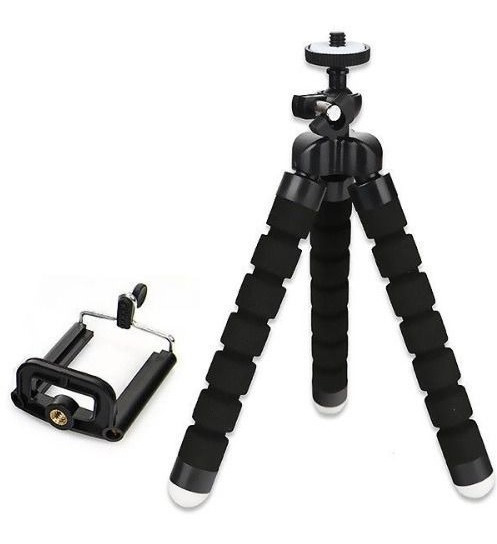 Kit 2 Un.mini Tripé Flexível+suporte P/ Celular Preto Promoç