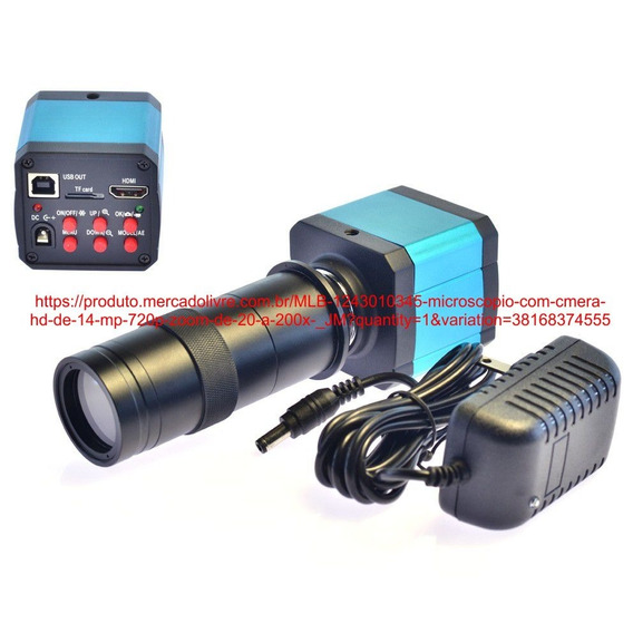 Microscópio Com Câmera Hd De 14 Mp 720p Zoom De 20 A 200x