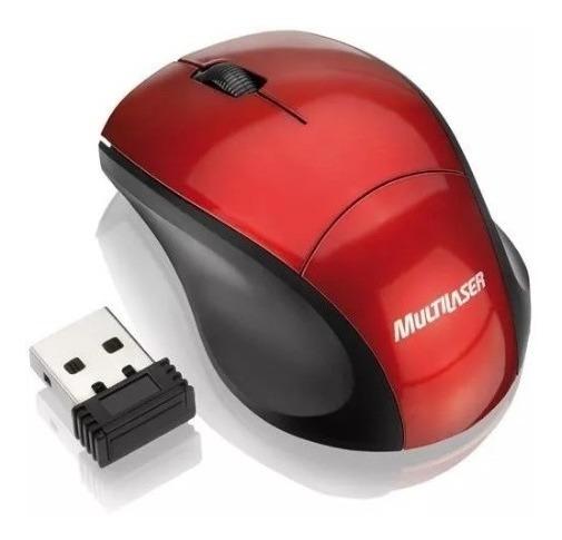 Mouse Usb Nano S/fio Mini Fit Vermelho - Multilaser