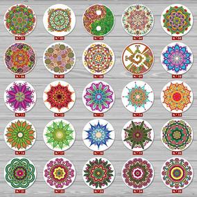 6 Placas Redondas Decorativas Mdf Mandala Presente Natal