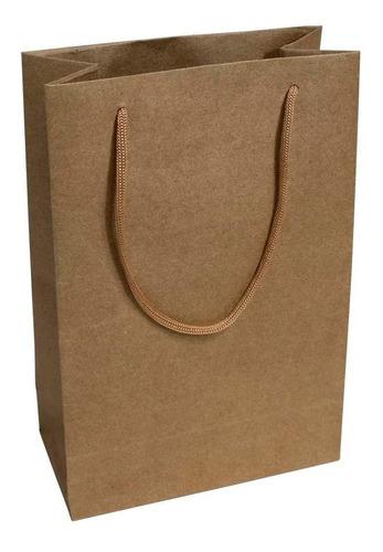 50 Sacolas Kraft 25x17x6cm Bolsa Papel 110 Gramas Presentes