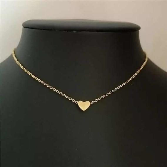 Colar Coração Dourado Delicado Presente Lembrancinha Amor
