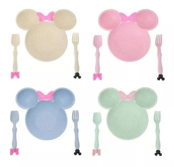 Set De Plato Y Cubiertos Minnie Y Mickey Para Bebes