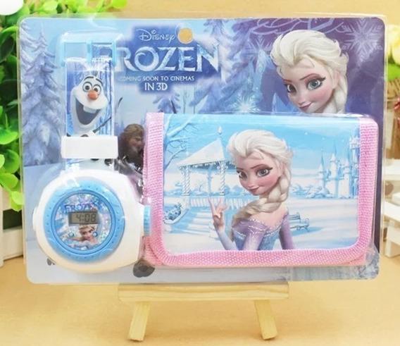 Reloj Proyector Frozen Combo + Cartera Disney Ana Y Elsa
