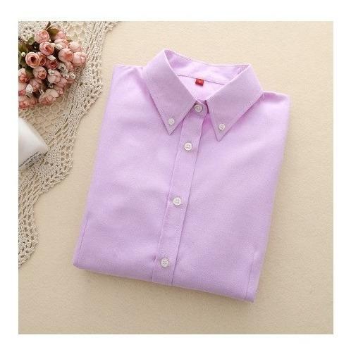Camisa De Dama Manga Larga De Algodón Y Poliéster (varias)