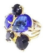 Anel Dourado Com Cristal Azul E Turmalina Negra