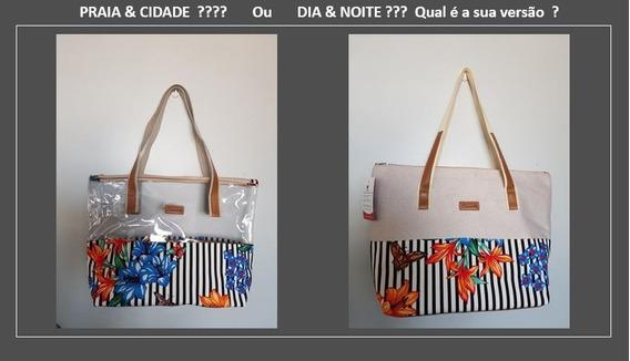 02 Bolsa Feminina Tecido + Cristal Floral Praia Cidade