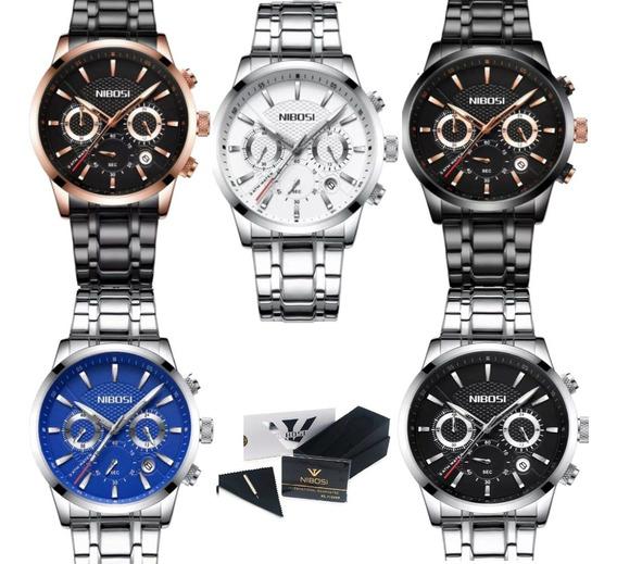 Relógio Nibosi Cronógrafo 100% Funcional Com Caixa Original