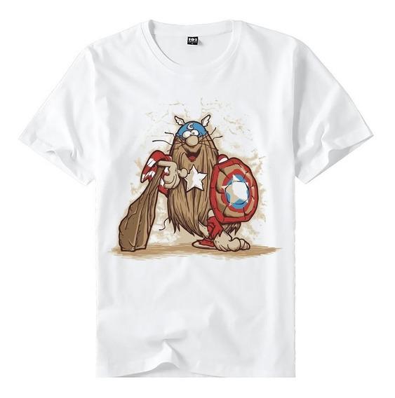 Camiseta Do Capitão Caverna Vestindo Capitão América