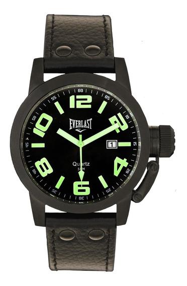 Relógio Pulso Everlast Unissex Aço Couro Calendário E057