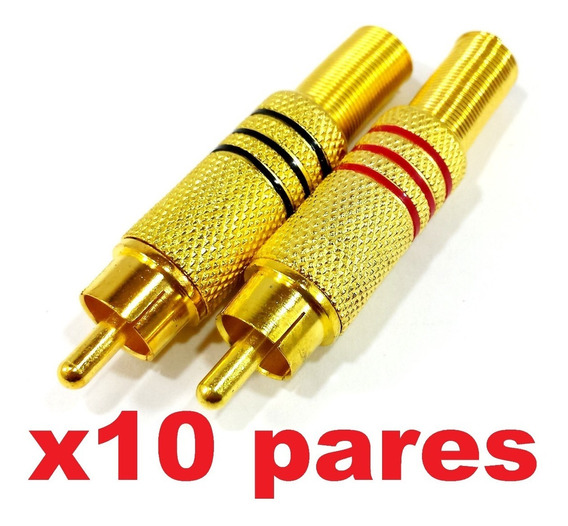 10 Pares Plug Rca Metálico C/ Mola Dourado