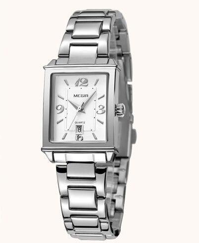 Relógio Feminino Megir 1079 Aço Inoxidável Prateado Luxuoso