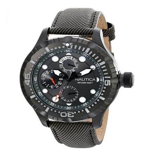 Relógio Náutica N16683g Prata Aço Inox Dial Preto Original