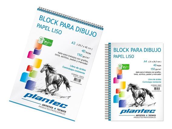 Block Para Dibujo A3 150grs Liso Boceto Tinta Lapiz Anillado