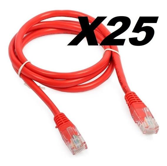 Patch Cord Vermelho Cat6 2,5metros - Kit Com 25 Unidades