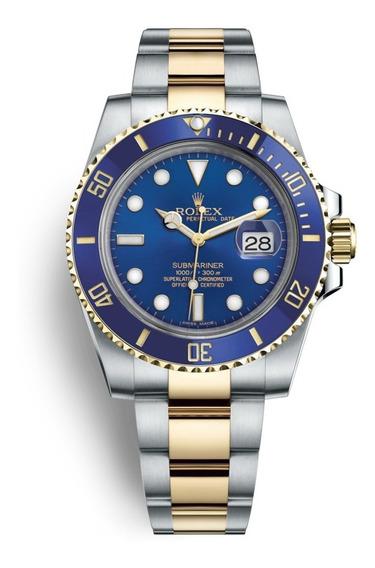 Relógio Submariner Misto Azul Automático Grande 44mm