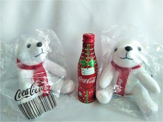 Kit Coca Cola Garrafa De Natal E 2 Ursos Polares Pelucia $