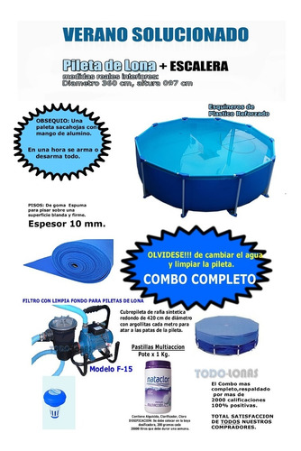 Combo  Pileta De Lona Grande Nº9 Redonda 360x097 G 6 Años