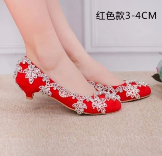 Sapato Salto Baixo Vermelho Noiva Strass 10