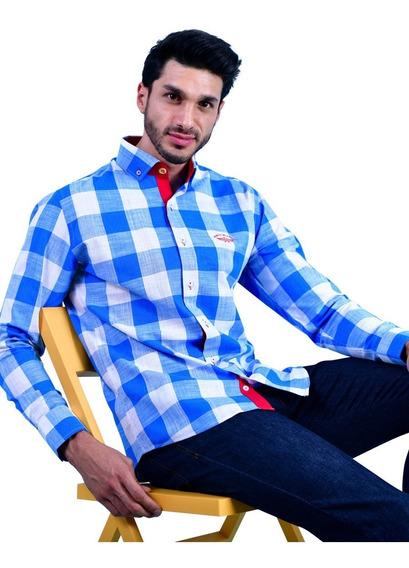 Camisa Porto Blanco Caballero Algodon Azul Cuadros