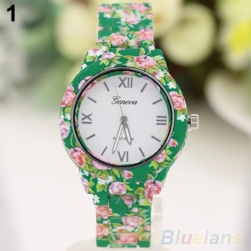 Relógio De Pulso Estampado Flores Feminino Cor Verde