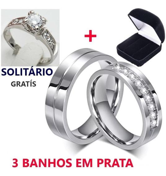 Lindo Par Alianças Banhada A Prata Com Zircônia + Solitário