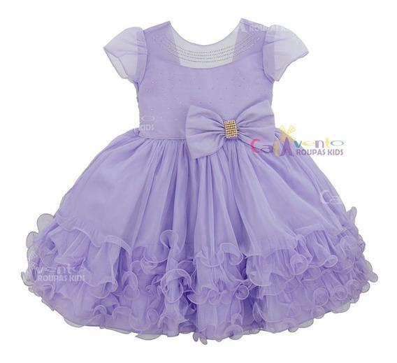 Vestido De Festa Infantil Princesa Sofia Lilás Luxo Oferta