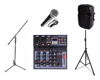 Combo Audio Karaoke Parquer Bafle Microfono Soportes Mixer