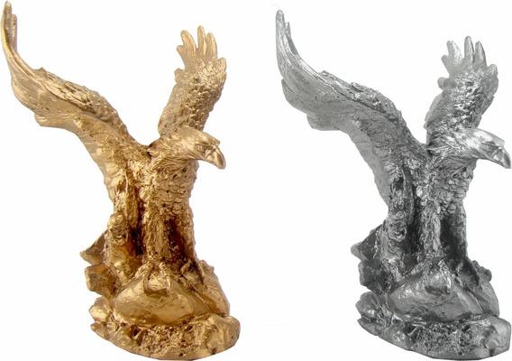 Águia Dourada Na Rocha - Estatueta - Escultura - Decoração