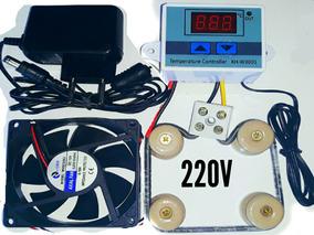 Kit Para Chocadeira 220v Termostato Resistência Cooler Fonte