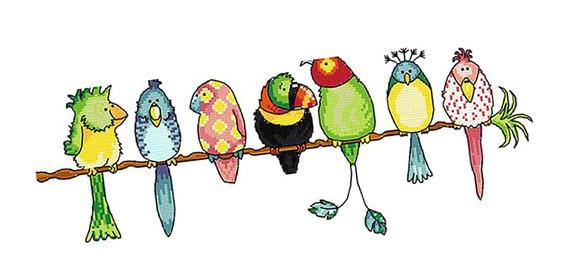 Adoráveis Papagaios Coloridos Pássaros Diy Estampado Cruz St