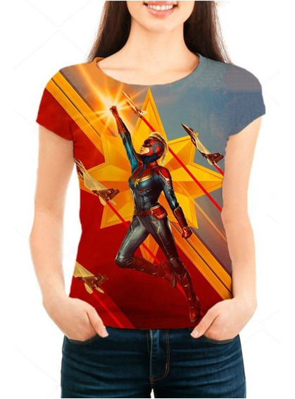 Camisa Camiseta Babylook Feminina Capitã Marvel Mod 04