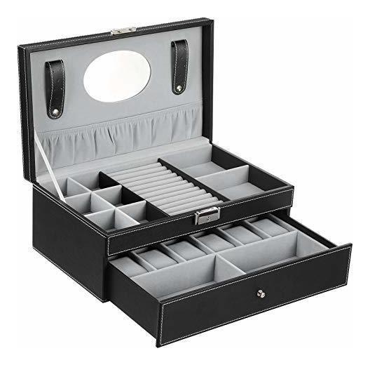 Songmics Black Jewelry Box 6 Reloj Organizador Storage Case