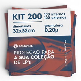 100+100 Lp Vinil Plastico Externo Grosso 0.20 + Interno Kit