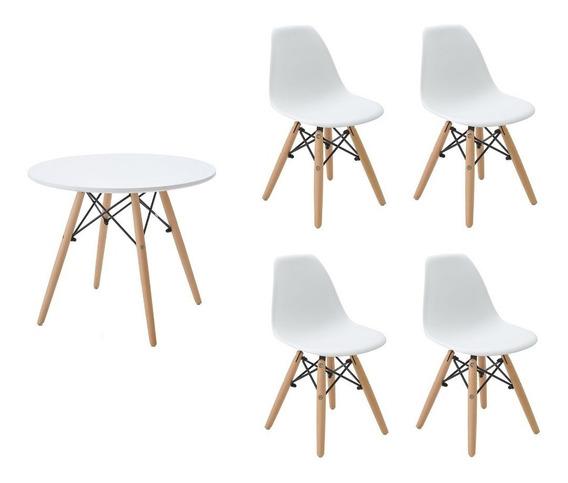 Kit 1x Mesa Infantil 60cm Alta + 4x Cadeira Eiffel Infantil